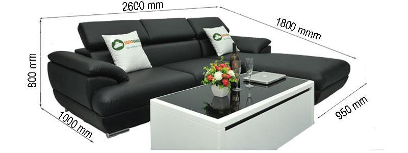 kích thước sofa da đẹp cho phòng khách nhỏ