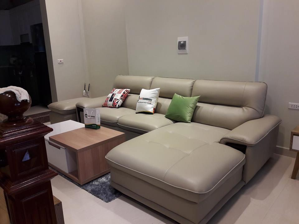 Bộ bàn ghế sofa da cao cấp đã bàn giao tại nguyễn sơn long biên hà nội