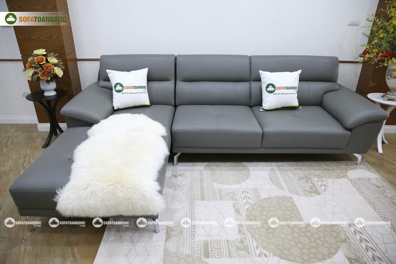 ghế sofa da chân inox màu xám ghi mã sd06p-1