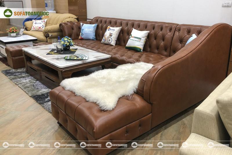 Bộ ghế sofa da bò thật anh 100% kiểu tân cổ điển mã 196-2