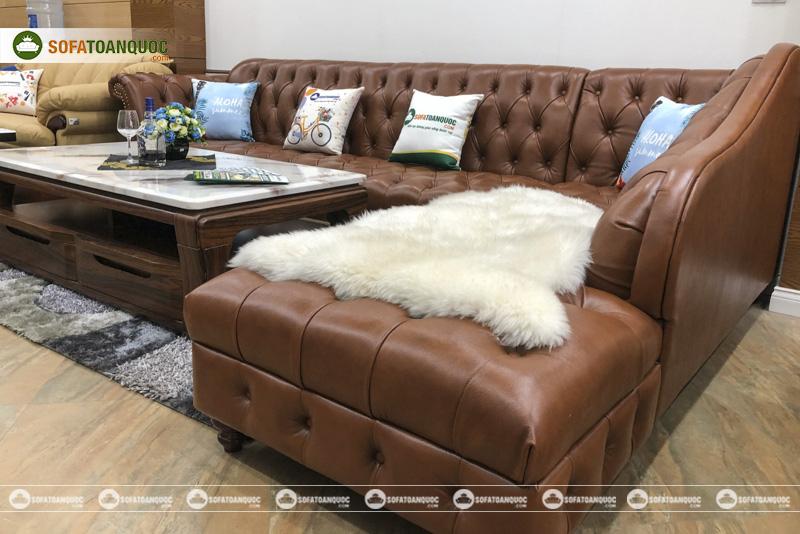 Bộ ghế sofa da bò thật anh 100% kiểu tân cổ điển mã 196-3