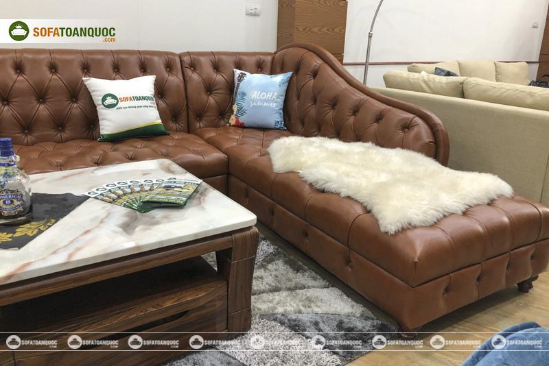 Bộ ghế sofa da bò thật anh 100% kiểu tân cổ điển mã 196-4