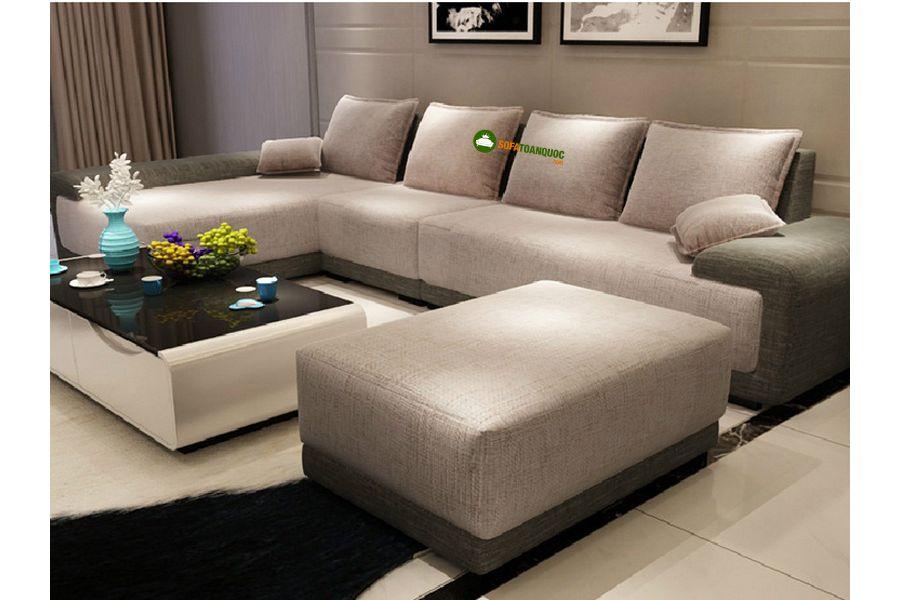 sofa góc không tựa bọc vải nỉ