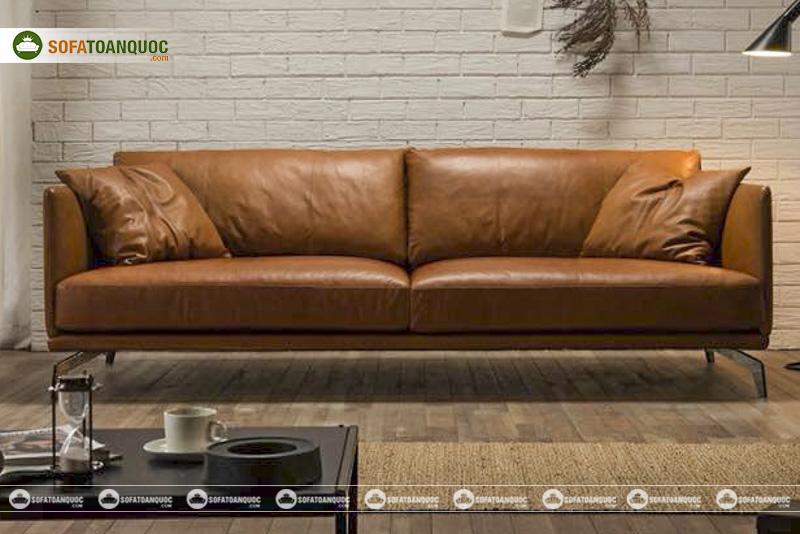 sofa văng không tựa bọc da thật