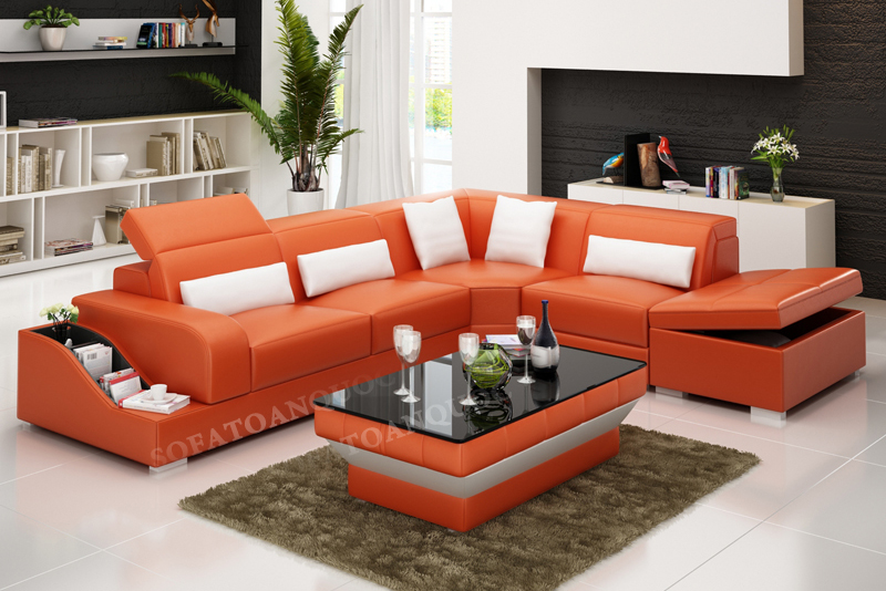 Sofa da phòng khách đẹp mắt