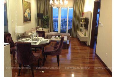 Bộ bàn ăn tròn 4 ghế bọc vải