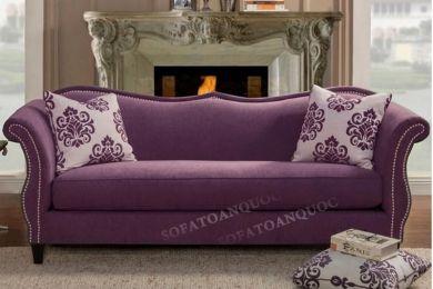 Ghế sofa văng kiểu dáng tân cổ điển màu tím sang trọng và đẳng cấp mã 63
