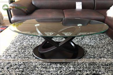 Bàn kính cường lực cho sofa hình oval mã 105
