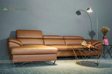 Bộ bàn ghế sofa da chân màu da bò mã 203