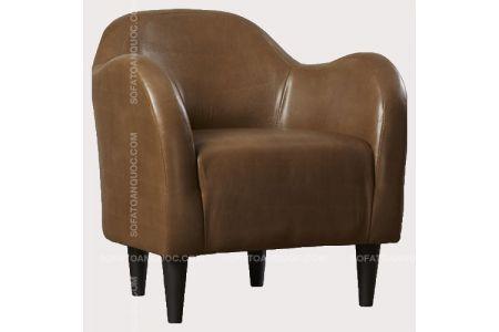 Mẫu ghế sofa đơn da màu nâu mã 12