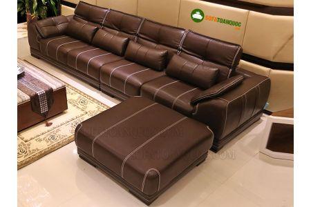 Sofa da màu kẻ nâu sang trọng mã 13