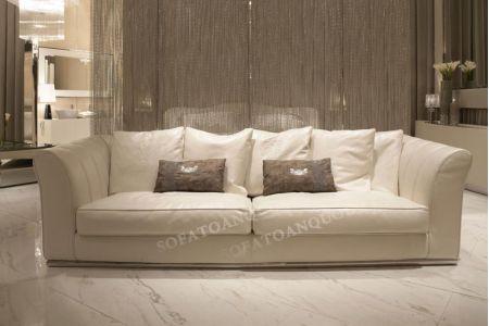 Ghế sofa văng bọc da màu trắng cho phòng khách đẹp mã 14