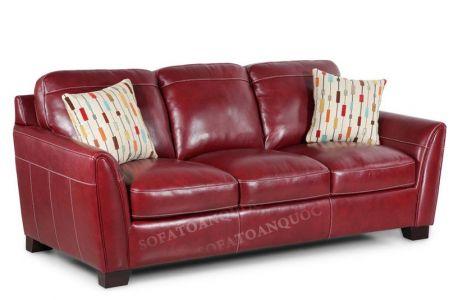 Ghế sofa văng dài 3 chỗ màu đỏ mận bọc da đẹp cho phòng khách mã 32