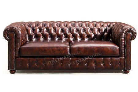 Ghế sofa văng bọc da thật  kiểu dáng tân cổ điển màu nâu cafe cực sang mã 33