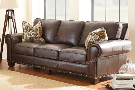 Ghế sofa văng dài bọc da thật màu nâu cafe đẹp và sang trọng mã 34
