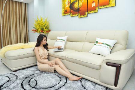 Bộ ghế sofa giả da cao cấp nhập khẩu mã QVF1623P-1