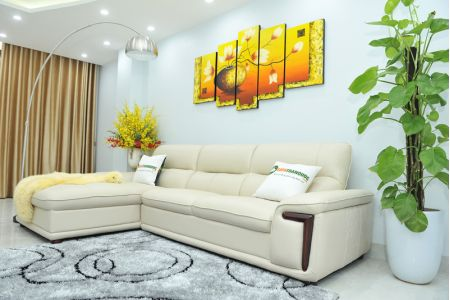 Bộ ghế sofa giả da cao cấp nhập khẩu mã QVF1623P-8