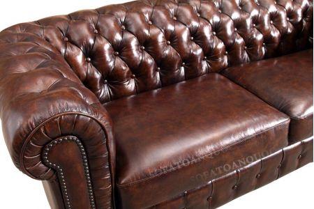 Ghế sofa văng bọc da kiểu dáng tân cổ điển màu nâu cafe cực sang mã 33-2