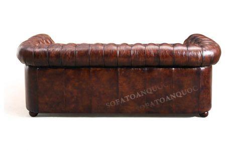 Ghế sofa văng bọc da kiểu dáng tân cổ điển màu nâu cafe cực sang mã 33-3