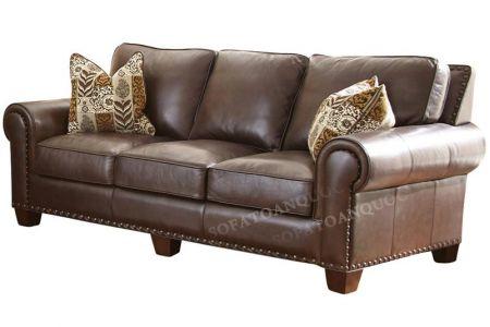 Ghế sofa văng dài bọc da thật màu nâu cafe đẹp và sang trọng mã 34-1