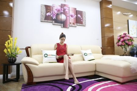 Kích thước bộ bàn ghế sofa da góc nhập khẩu mã 23t