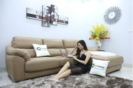 Bộ bàn ghế sofa da đẹp góc trái mã sdn21t-2