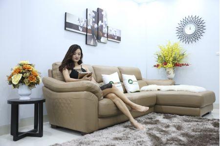 Bộ bàn ghế sofa da màu xám cao cấp mã sdn 21t