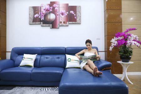 Ghế sofa da màu xanh dương nhập khẩu mã VH11T-2