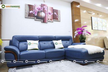 Ghế sofa da màu xanh dương nhập khẩu mã VH11T-3