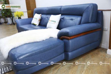 Ghế sofa da màu xanh dương nhập khẩu mã VH11T-4