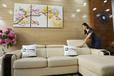 Bộ bàn ghế sofa da góc đẹp mã sdn28t-3
