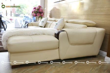 Bộ bàn ghế sofa da góc đẹp mã sdn28t-8