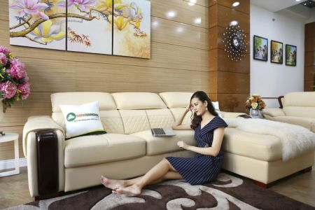 Bộ bàn ghế sofa da góc đẹp nhập khẩu mã sdn28t