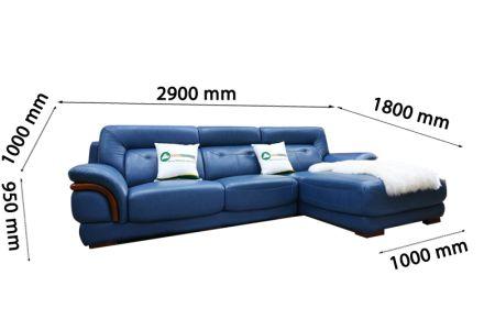 Ghế sofa da màu xanh dương nhập khẩu mã VH11T-9