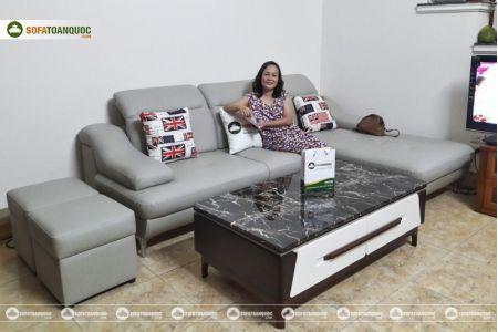Bộ ghế sofa da góc chữ L màu xám ghi sang trọng mã 193