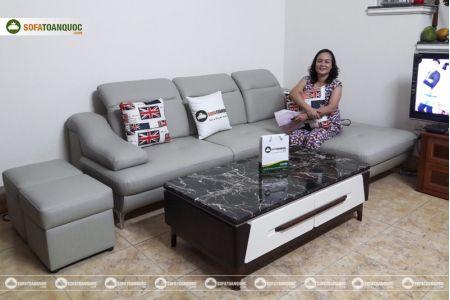 Bộ ghế sofa da góc chữ L màu xám ghi sang trọng mã 193-1