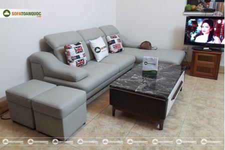 Bộ ghế sofa da góc chữ L màu xám ghi sang trọng mã 193-2