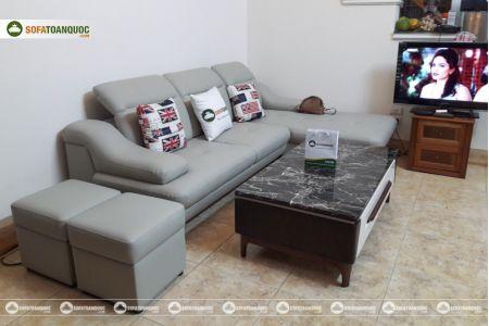 Bộ ghế sofa da góc chữ L màu xám ghi sang trọng mã 193-3