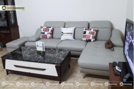 Bộ ghế sofa da góc chữ L màu xám ghi sang trọng mã 193-4