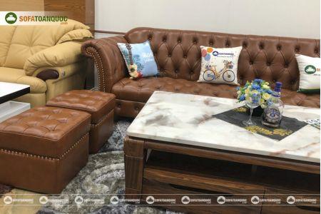 Bộ bàn ghế sofa da tân cổ điển đẹp mã 196-4