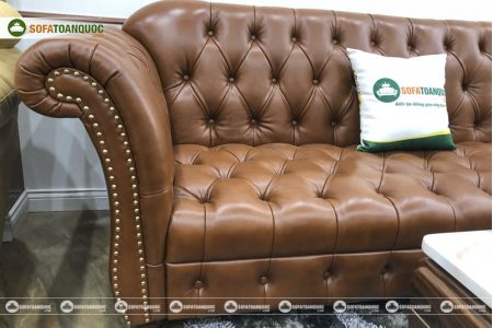 Bộ bàn ghế sofa da tân cổ điển đẹp mã 196-6