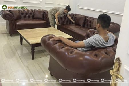 Bộ bàn ghế sofa da tân cổ điển đẹp mã 197-2