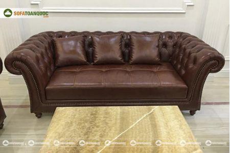 Bộ bàn ghế sofa da tân cổ điển đẹp mã 197-3