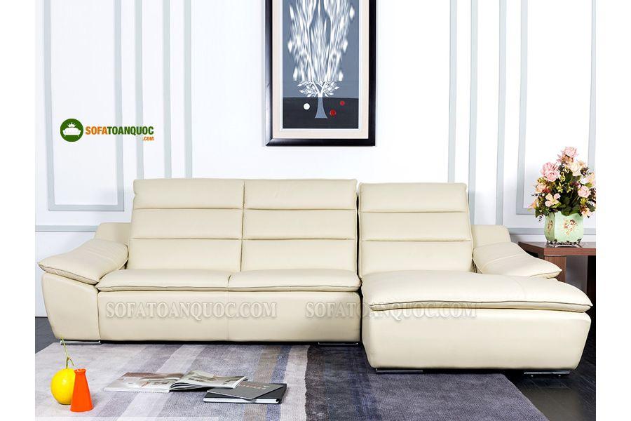 Sofa da góc màu trắng cho phòng khách