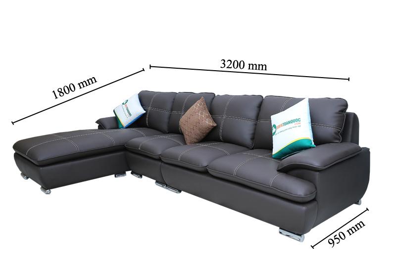 kích thước sofa góc màu nâu đen chỉ trắng