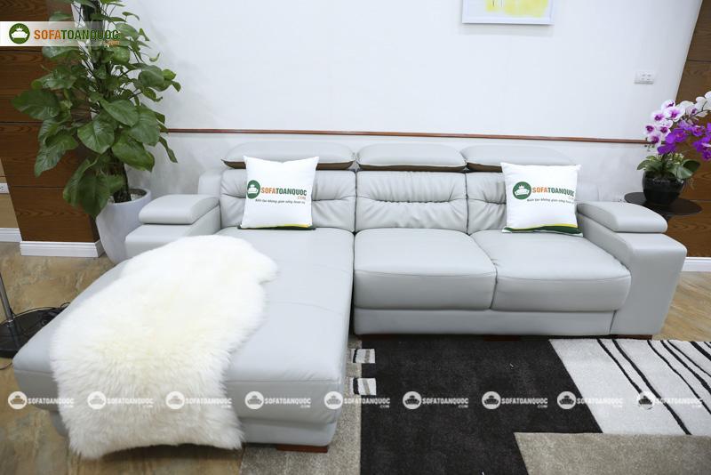 ghế sofa góc bọc da màu xám khói