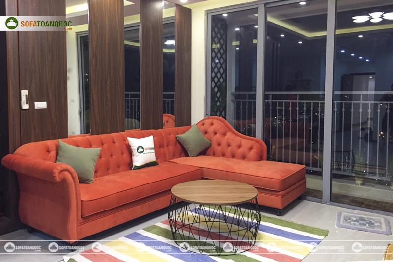 bộ ghế sofa góc màu đỏ