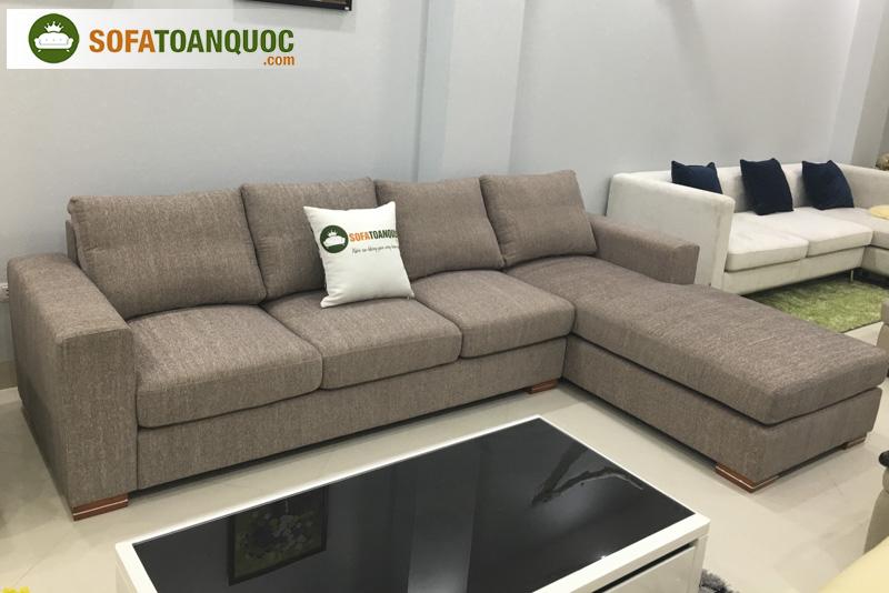 sofa góc bọc vải 3 chỗ màu xám lông chuột