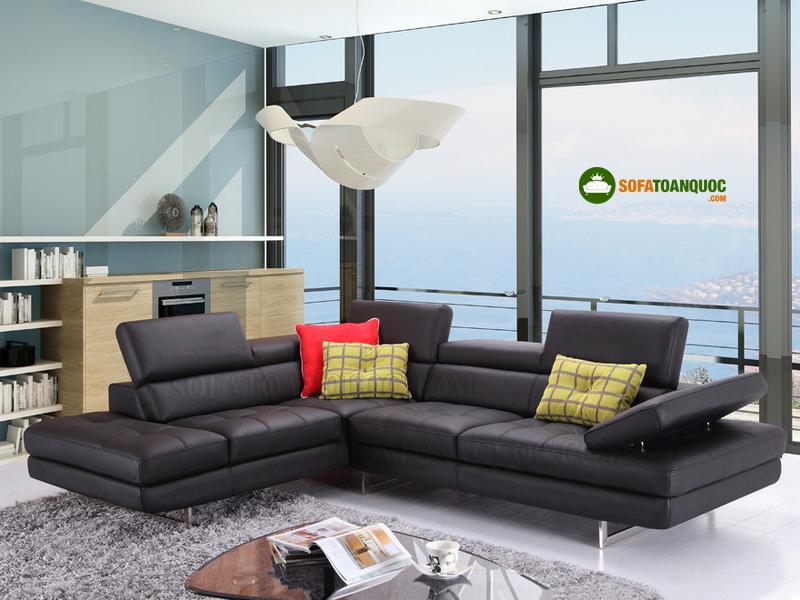 sofa da góc cỡ lớn màu nâu đen