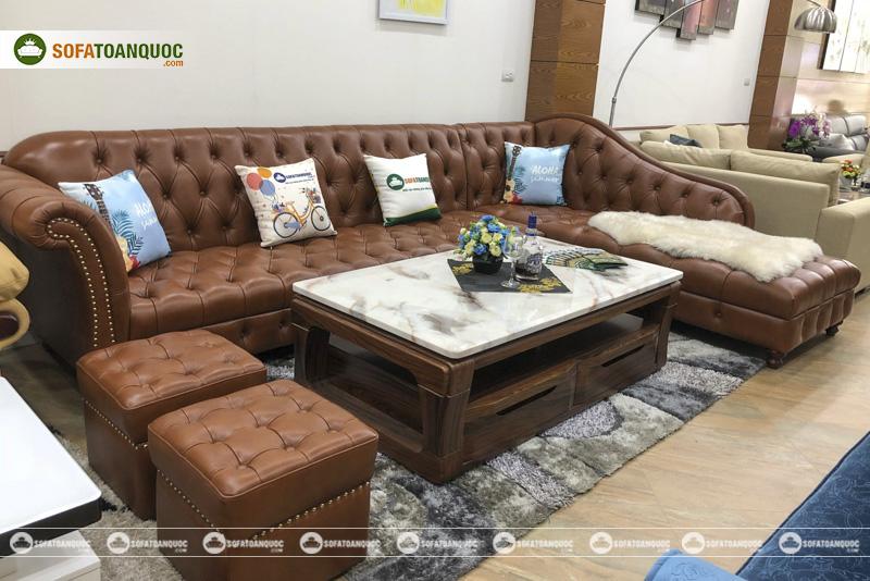 bộ ghế sofa da thật tân cổ điển đẹp kích thước lớn màu nâu